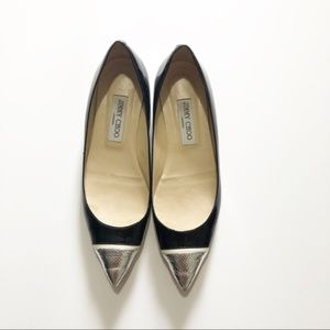 Jimmy Choo Patent Leather Silver Toe Flats Sz 38.5